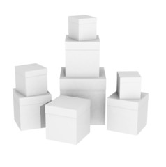 Boxes on a white background as cubes