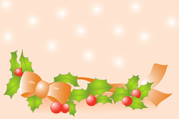 Christmas background - Holly and ribbon