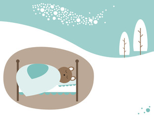 Bear sleeping in winter