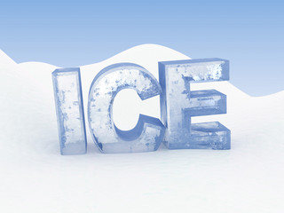 Abstract 3d illustration of text 'ice' on snow background