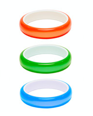Three color bracelets isolated on white
