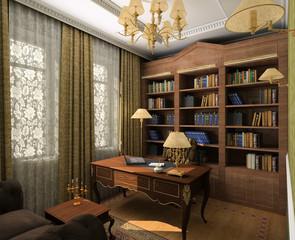 Classical design interior of cabinet. 3D render
