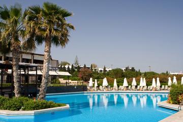 Luxury hotel swimming pool in Greek islands