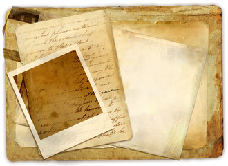 vintage stack papers with instant frame
