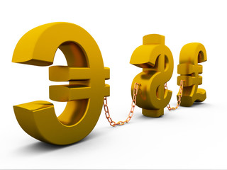 3D dollar,euro and pound