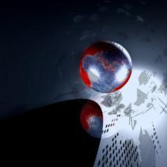 world globe black, red and grey