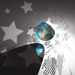 world globe with stars