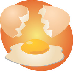 Egg illustration clipart open shell with yolk