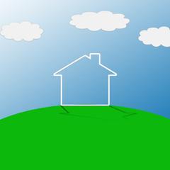 Maison sur colline verdoyante