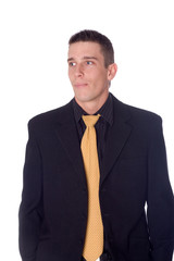 young businessman with white background
