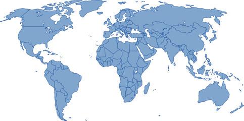 Weltkarte - Vektor mit genauen Grenzen auf eigener Ebene