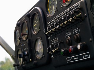 cockpit panel of small airplane