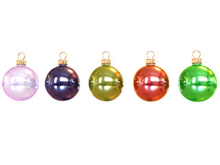 Few colored christmas balls isolated on white