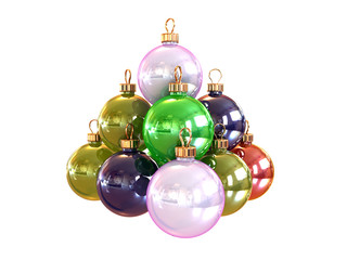 Pyramid from christmas colored balls isolated on white