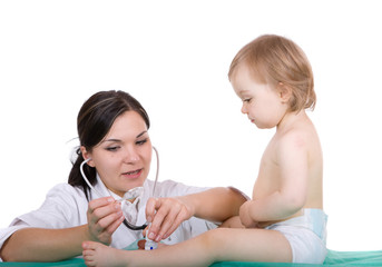 Young pediatrician with baby girl, over white background