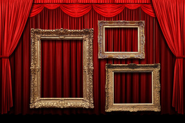 Wall Mural - Red stage curtain with gold frames
