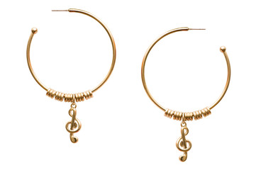 Wall Mural - Pair of earrings isolated on the white background