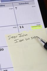 Dear John style start to a note on a calendar