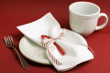 White Place Setting on Red