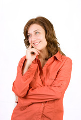 Portrait of a pensive woman on white background