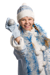 Laughing snow girl with christmas-tree decoration