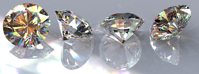 Four brilliant cut clear diamonds