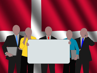 Danish business team with rippled flag illustration