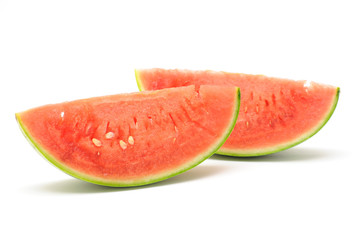 Slices of watermelon in isolated white background