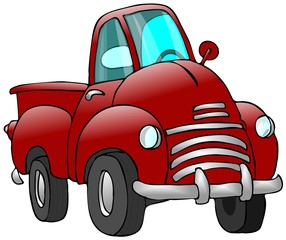 Printed roller blinds Cars Old Red Truck