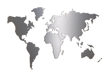 world map silhouette isolated on white background