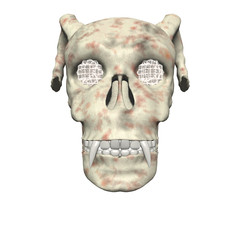 3D big realistic skull isolated on white background
