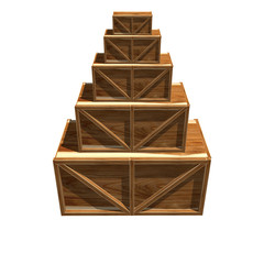 Wooden crates isolated on white