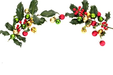 Holly berry and christmas balls