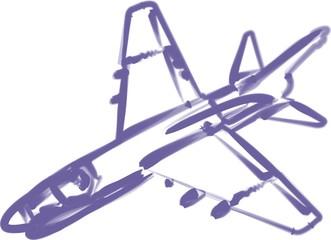 Düsenflugzeug aquarell violett