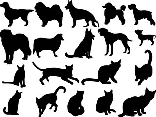 cat and dog - vector