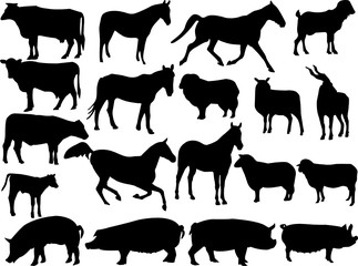 farm animal silhouette collection - vector
