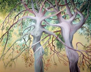 Two tree of love. Painted in watercolor on canvas