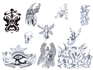 Set of various patterns for tattoos - hand drawed