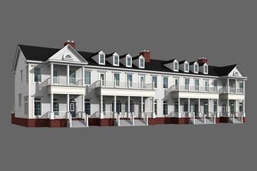 3d model of white siding condominium isolated on gray