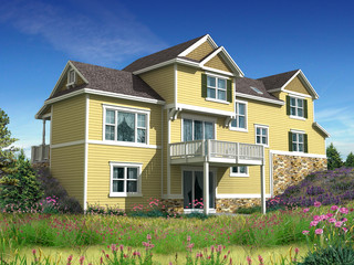 3d Model of house with yellow siding photo-matched in landscape