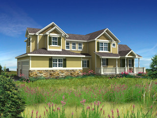 3d Model of yellow siding house photo-matched in landscape