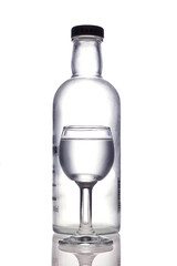bottle and glass with vodka