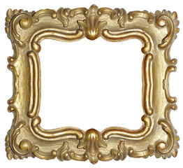 antique wood carved baroque gold frame on white background
