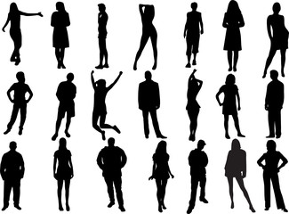 vector illustration set of various people standing and in action