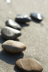 Acrylic Prints Stones in Sand Stones on sand at the sea, a pebble