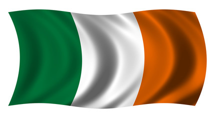 The Flag of the Republic of Ireland on white background