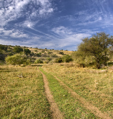 lonley path in a valley in vadi nachal amud, Galilee Isreal