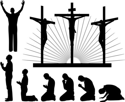 Silhouettes of the three crosses and praying man.