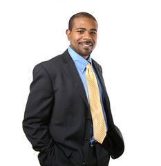 Confident smiling African American businessman