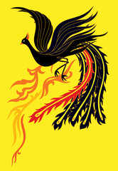 a black phoenix flapping it's wings flying up to the sky